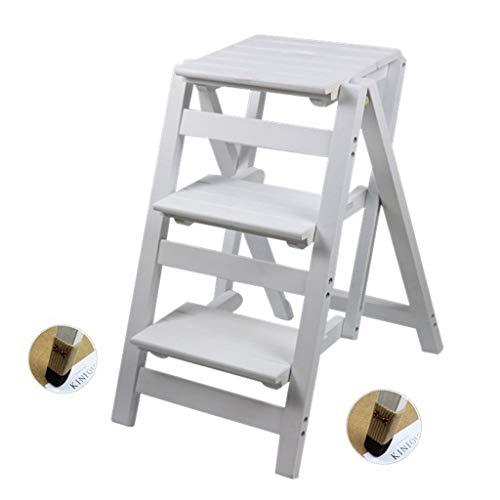Taburete de Madera Plegable Escalera Multifuncional de Madera Taburete de Escalera 3 Taburetes de Paso Adulto Interior de Madera para Cocina/Oficina/Biblioteca Escalera de Tijera Herramientas pa