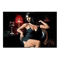 現代の油絵プリントアート、抽象アフロアメリカンセクシーな女性黒いキャミソールを着てキャンバスアートの写真をプリントバーの装飾ナイトクラブ、フレームレス,Y,CottonCloth/40×60cm
