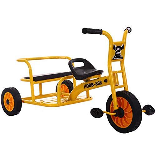 HQXH Triciclo para Niños, Bicicleta Tándem De Pedales, Vehículo De Educación Temprana para Jardín De Infantes para Varias Personas, Vehículo Tándem, Utilizado para Niños De 2 A 8 Años,Amarillo