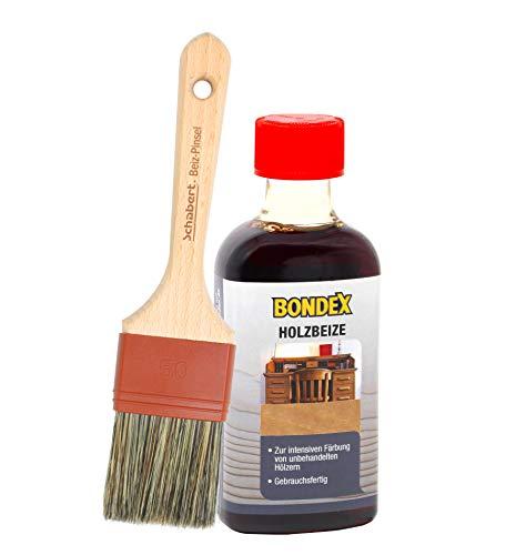 Bondex Holzbeize inkl. Beizpinsel, Wasserbeize in 20 Farbtönen zur Auswahl (250 ml, buche)