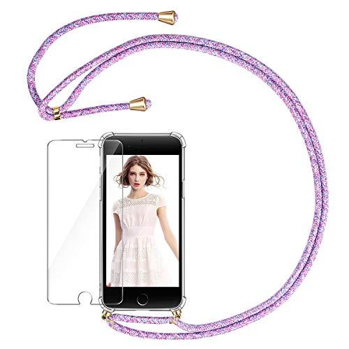 AROYI Funda con Cuerda para iPhone 7 Plus/8 Plus + Protector Pantalla, Carcasa Transparente TPU Silicona Case con Colgante Ajustable Correa de Cordón para iPhone 7 Plus/8 Plus, Morado