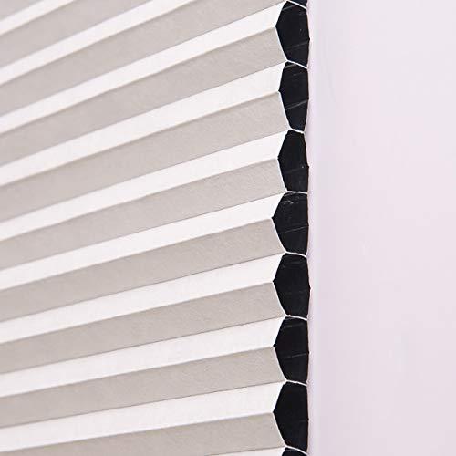 Plissee ohne Bohren klemmfix Jalousie Sonnenschutz Easyfix Faltrollo Crushed Optik Lichtdurchlässig Rollo für Fenster & Tür,Weiß,90x130cm