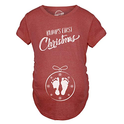 Crazy Dog T-Shirts Maternity Bumps First Christmas Ornament New Baby T Shirt Pregnancy Tee for Mom (Heather Red) - S