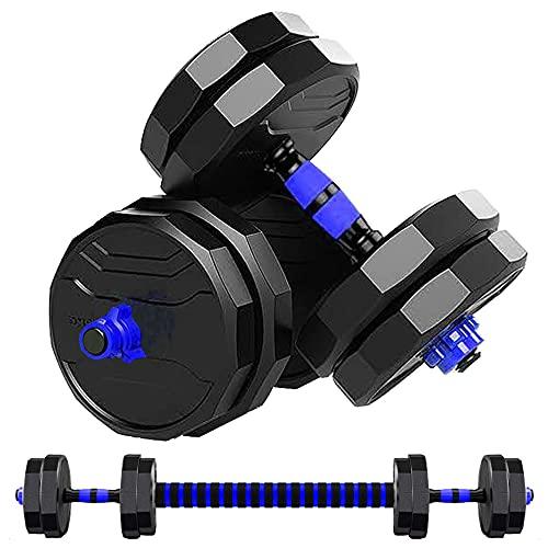 MOJEER ダンベル 可変式【最新進化版・3in1】10kg 20kg 30kg 40kg 2個セット12角形構造 バーベルにもなる ダンベル 無臭素材 静音JX (5kg×2個セット/blue)