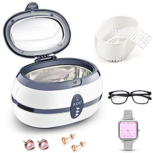 PREUP Ultrasonic Cleaner, 600mL Jewellery Cleaner Ultra Sonic Bath with Cleaning Basket - Stainless Steel Tank & Digital Timer for Jewelry Pendant Glasses Watch Metal Coins Denture