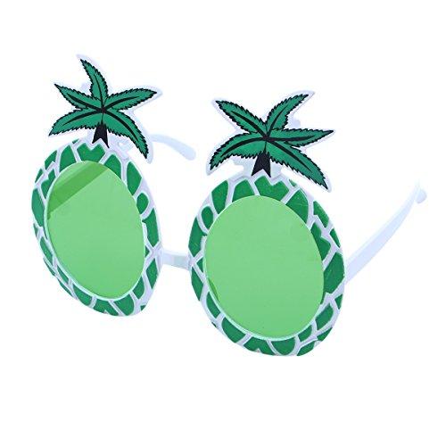 Luoem - Gafas de sol con piña y gafas de sol Hawaii Luau artículos de fiesta, verano, tropical, decoración (verde)
