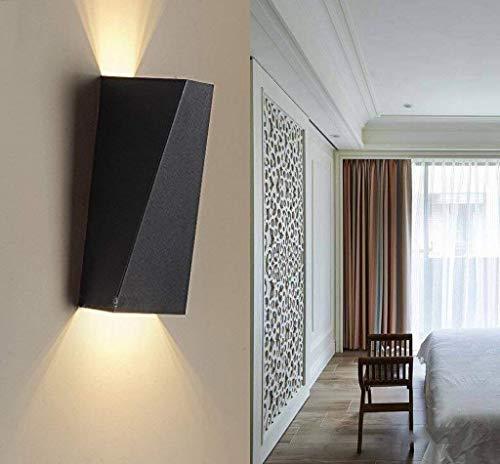 Glighone Lampada da Parete a LED 10W, Applique da Parete Interni per Decorazione Stile Moderno Applique Gesso Nero