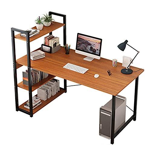 HBCELY Escritorio de computadora Escritorio Moderno con estantería Escritorio para PC con estantes de Almacenamiento Mesa de Estudio para la Oficina en casa Fácil de Montar,100cm/39.4in
