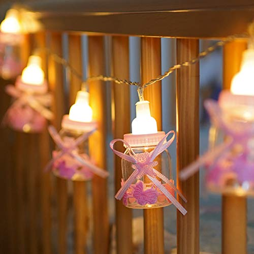 Festive Lights Baby Fläschchen Lichterkette, batteriebetrieben, 10 LEDs warmweiß, (Baby Rosa)