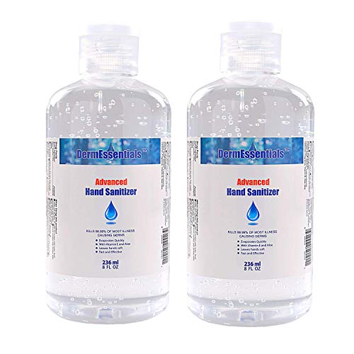 DermEssentials Advanced Hand Sanitizer Liquid Gel Infused with 70% Ethyl Alcohol, Aloe Vera and Vitamin E Antibacterial Gel – 8 oz (2-Pack)