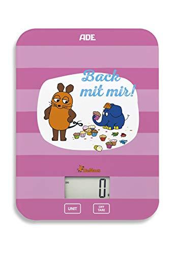 """Die Sendung mit der Maus - Küchenwaage \""""Back mit mir\"""" (Digitale Waage für Küche und Haushalt, präzise und grammgenau bis 5 kg, mit Batterie) rosa"""