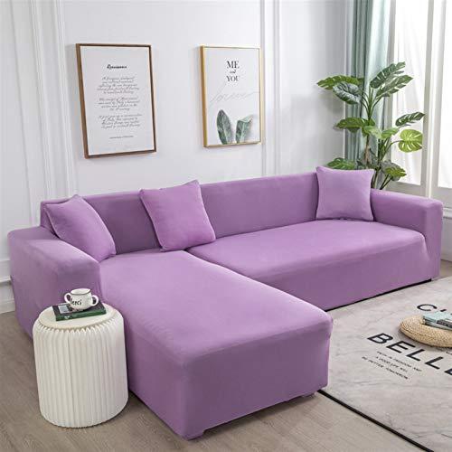Einfach zu installierender und bequemer Sofa Sofa-Cover, 1 oder 2 Stück ELASTIC-Sofaabdeckung Massivfarbe L-Form Sessel Couch Abdeckungen Sofaabdeckungen für Wohnzimmer Sektional Weiche Slipcover