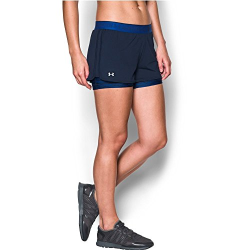 Under Armour Women's HeatGear Armour 2-In-1 Shorty, Midnight Navy /Metallic Silver, X-Small