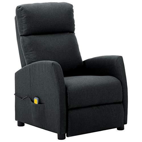 vidaXL Massagesessel mit Massagefunktion Heizfunktion Fernsehsessel Relaxsessel Liegesessel TV Sessel Ruhesessel Polstersessel Dunkelgrau Stoff