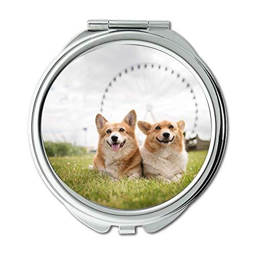 Yanteng Spiegel, Compact Spiegel, Elefant und Hund Corgi, Taschenspiegel, 1 X 2X Lupe