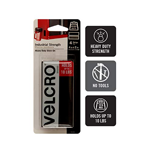VELCRO Brand Heavy Duty Fasteners | 4x2 Inch Strips 4 Sets | Holds 10 lbs | Stick-On Adhesive Backed | Black Industrial Strength | For Indoor or Outdoor Use Photo #3