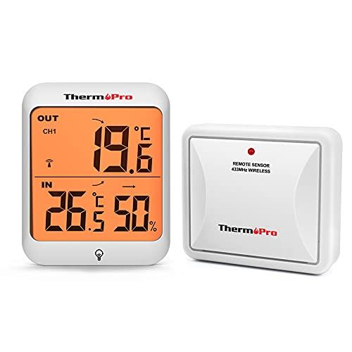 ThermoPro TP63 Termómetro Higrómetro Digital para Interior y Exteriore Termohigrómetro Inalámbrico con Sensor a Prueba de Intemperie y Recargable, Rango de 60m
