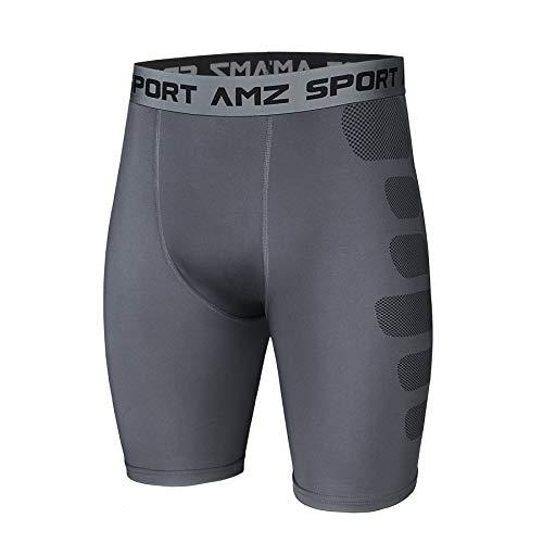 AMZSPORT Herren Kompressionsshorts Sport Shorts Kurze Hose Schnell Trocknend Funktionsunterwäsche, Grau, XXL