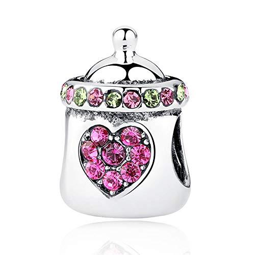 Abalorio De Plata 925 Para Mujer,Moda Cute Pink Biberón De Cristal En...
