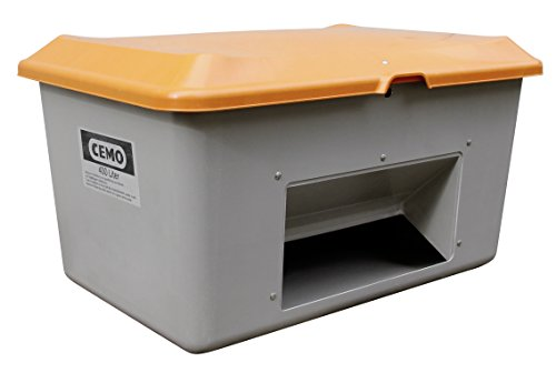 CEMO 10570 GFK-Streugutbehälter mit Entnahmeöffnung, grau/orange, 400 L