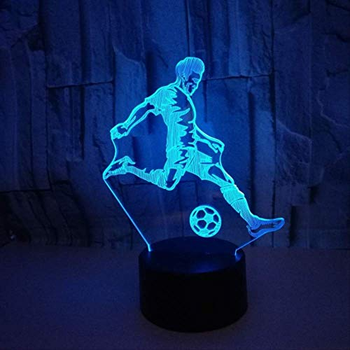 WisdomMi Night Light for Kids Night Stand Lamp 7 Color Change 3D Led Lamp Touch Sensor Play Football 3D Night Light for Soccer Sports Fans Best Gift Children Bedroom Decor Remote Control 16 Colors