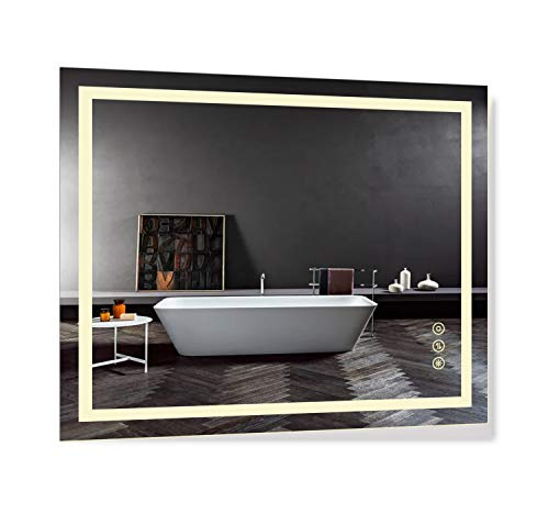 B&C 30x36 inch Super Slim Bathroom Mirror Vertical or Horizontal|LED Lighted|Polished Edge -