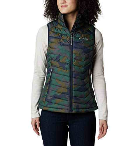 Columbia Powder Lite Chaleco para Mujer, Azul (Dark Nocturnal Traditional Camo Print), L