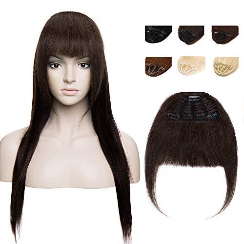 Elailite Frangia Clip Capelli Veri Frangetta Extension Invisibili 100% Remy Human Hair Naturali Lisci Umani Hair Bang Fascia Unica 25g #2 Marrone Scuro