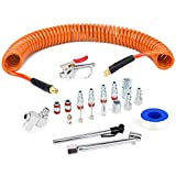 FYPower 1/4 inch x 25 ft Recoil Poly Air Hose Kit, 20 Pieces Air Compressor Accessories Se...