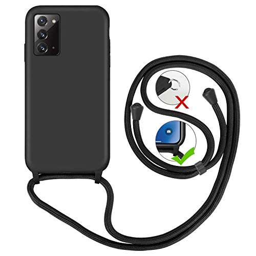 GoodcAcy Funda para Samsung Galaxy Note 20 Case,con Correa Colgante Ajustable Cadena Cordón Premium Antipolvos sobre Carcasa de Silicona Líquida Suave,Negro