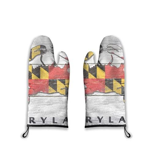 Mitones para Horno 2 Piezas,Cangrejo de Bandera del Estado rústico de Maryland,Guantes de Barbacoa con Almohadillas Calientes Resistentes al Forro Acolchado