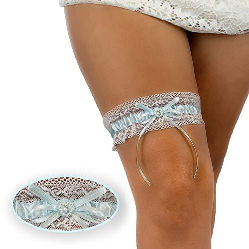 BrautStyle® Premium Braut Strumpfband in Blau für Hochzeit in Einheitsgröße, Band verziert mit Spitze, Schleife und einem edlen Herz aus filigranen Strass-Steinen, 100% Handgefertigt (Blau - Weiß)