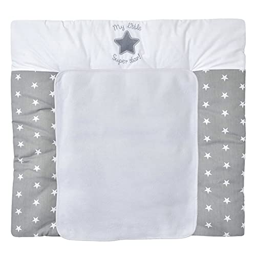 Baby Delux Wickelauflage 70x75 cm weiche Wickelunterlage Wickeltischauflage mit Frotteeauflage wasserdicht waschbar (Super Star)