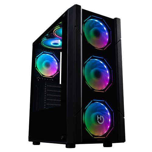 Hiditec Chasis Gaming V30 ARGB|Torre PC Gaming|Formato ATX y Micro ATX|Ventana Lateral y Frontal de Cristal Templado|Incluye Controladora|Incluye 4 Ventiladores hexagonales