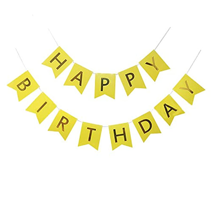 Happy Birthday Banner,Birthday Party Decorations and Supplies,Versatile, Beautiful, Swallowtail Bunting Flag Garland Surprise Ideas,with Shiny Gold Letters Shiny Gold Letters (Yellow)