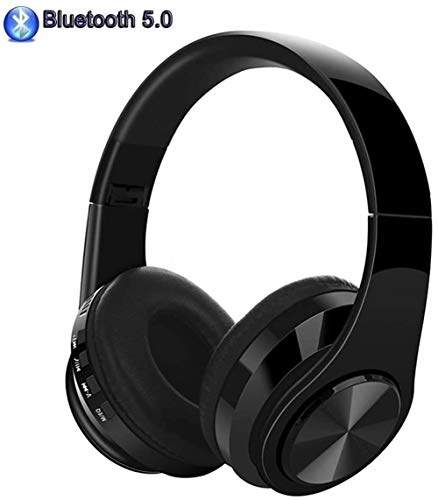 Lhak Bluetooth earphone Bluetooth headset, stereo wireless headset, foldable, soft earmuffs, with built-in microphone and wired mode Suitable for computer TV mobile phone (Color : A)