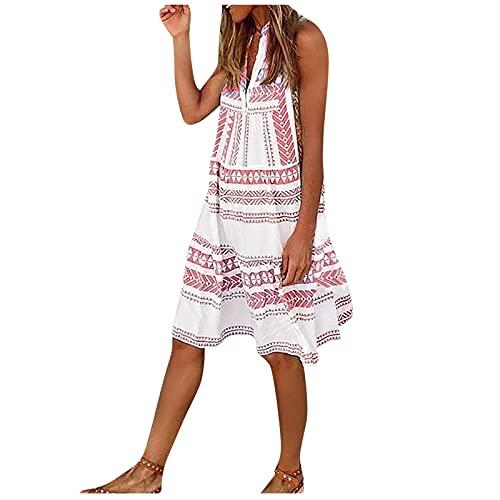 XWANG Vestido de verano para mujer, sin mangas, cuello en V, a rayas, cómodo, informal, ligero, de algodón. rojo S