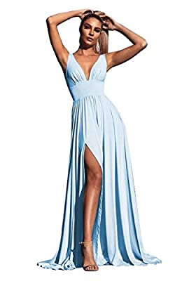 MARSEN Bridesmaid Dresses for Women V Neckline Split Backless Empire Formal Evening Dress Floor Length 2021 Sky Blue Size 2
