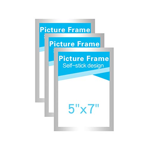 MFoffice 5x7 Picture Frames Made of Durable PVC and Strong Magnetic,Self Adhesive for Refrigerator/Wall/Door/Window/Cabinet Display,Silver,Pack of 3