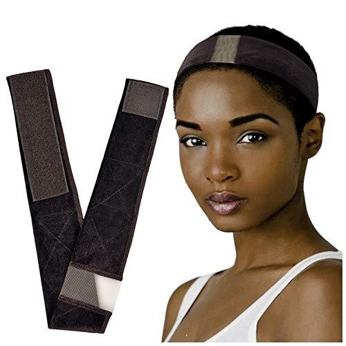 Adjustable Lace Wig Grip Band- No Slip Elastic Velvet Wig Grip Headband, Stretched Wig Hair Grip Head Band to Keep Wig Secured – Brown