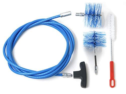 Baretto - Kit 3 mètres - 2 brosses 100 mm en nylon (granulés et flexible) - Kit de nettoyage pour poêle à granulés, tuyaux de...