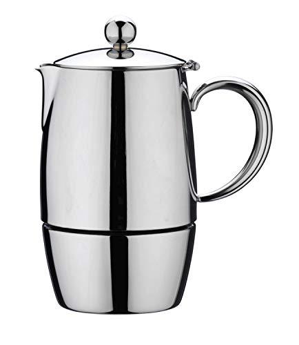Café Stål BEC-06M Bellux Espresso Kaffeekocher aus 18/10 Edelstahl – 6 Mokkatassen, 280 ML
