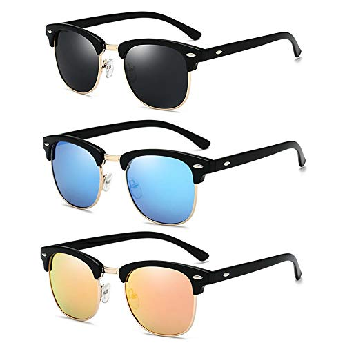 Retro gepolariseerde licht zonnebril mannen dames UV-bescherming fietsbril 3 paar zwart + blauw + geel