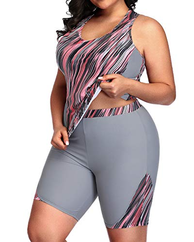 Daci Women Grey Pink Plus Size Tankini High Waisted Racerback Two Piece Swimsuit 20 Plus