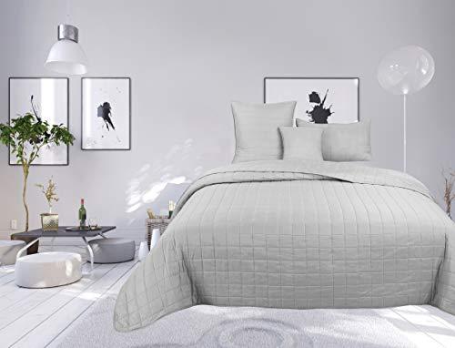 Colcha bouti de 4 piezas de color liso con diseño de cuadros para cama de 1 plaza (Silver, Cubre cama bouti 4 piezas liso)