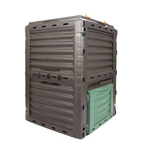 Garten Komposter Kunststoff – Verwandelt Küchen- und Gartenabfälle in Kompost – Thermokomposter 300l mit Deckel – Schnellkomposter Made in Europe