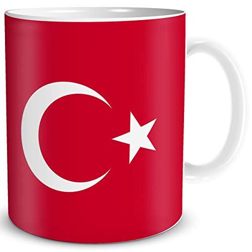 TRIOSK Tasse Flagge Türkei Länder Flaggen Geschenk Turkey Souvenir Türkiye für Reiselustige Frauen Männer Arbeit Büro Weltenbummler