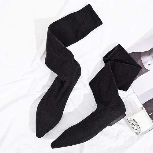 Shukun Overknee-laarzen, elastische sokken met vlakke bodem en kant knielaarzen