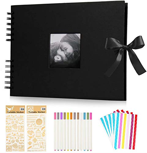 KEAFOLS Álbumes de fotos 80 Páginas Negras 40 Hojas Scrapbook Album de Fotos DIY Scrapbooking Album para Regalos de Boda Aniversario Cumpleanos Recuerdos Bebé Familiares