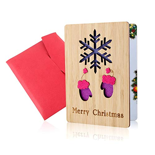 Cartes De Noël, Merry Christmas Carte, Cartes De Noël En Bois, Vraies Cartes Artisanales En Bambou Et Bois Avec Enveloppes, Motifs Colorés Et De Noël, Cadeaux De Noël Pour Parents Et Amis